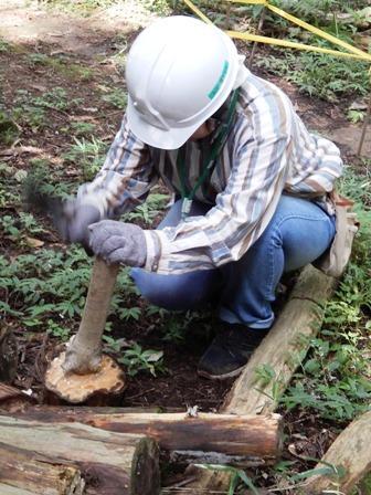 階段補修用杭を作る.JPG